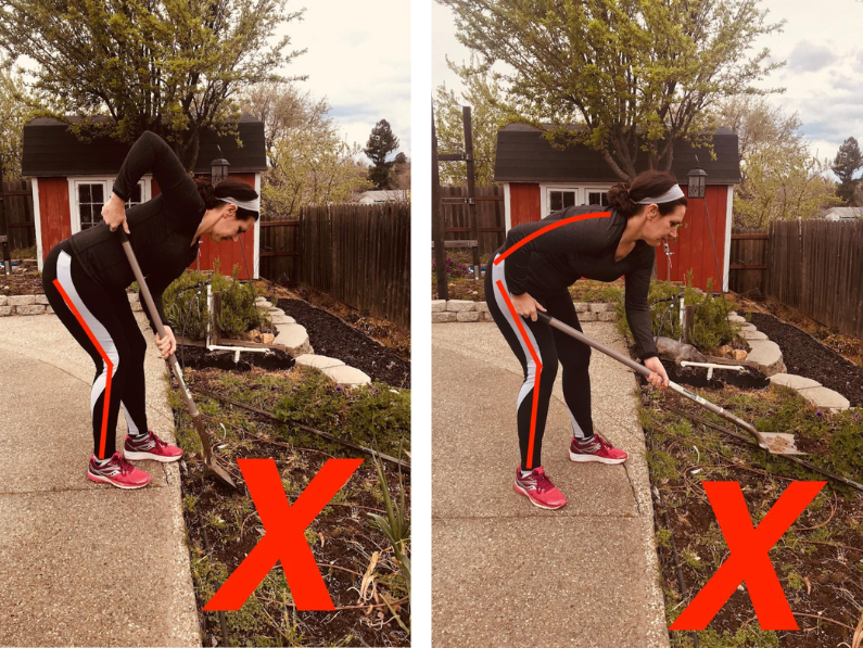 Brigit Lim shows the incorrect way to position your body while shoveling.