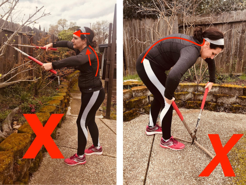 Brigit models the incorrect way to position your body while using hedge clippers.