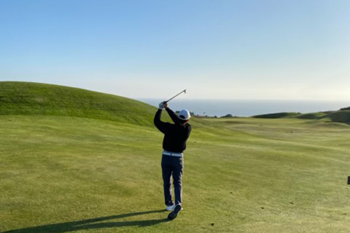 Eric Weill golfs in Bodega Bay.